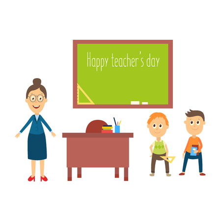 male symbol: vector flat cartoon adult woman teacher in glasses, boy and girl kids pupils holding books, notebooks and triangle in classroom near chalkboard. Isolated illustration on a white background.