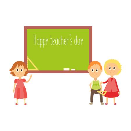 School children standing at blackboard happy teacher day greeting school children standing at blackboard happy teacher day greeting card template flat cartoon vector m4hsunfo