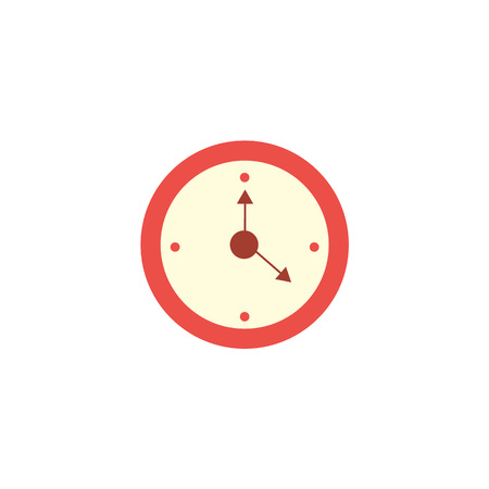Flat style classic red round wall clock, home interior, decoration object, vector illustration isolated on white background. Flat style wall clock icon, decoration object 向量圖像