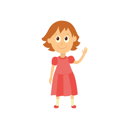 vector flat cartoon style female character - cute cheerful brunette girl pupil, schoolkid standing smiling in pink dress. Isolated illustration on a white background.