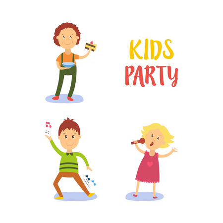 vector flat cartoon kids at party set. Boy dancing happily, another male child character eating piece of cake, girl in pink dress singing at microphone. Isolated illustration on a white background. Çizim