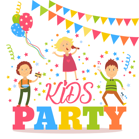 Kids party banner, poster with children signing, dancing, eating birthday cake, flat cartoon vector illustration isolated on white background. Flat cartoon style kid party banner, poster, invitation Иллюстрация