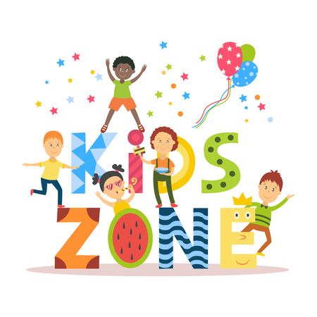 Banner, poster with Kid Zone text and children signing, dancing, having fun, flat cartoon vector illustration isolated on white background. Flat cartoon style Kid Zone banner, poster, invitation Çizim