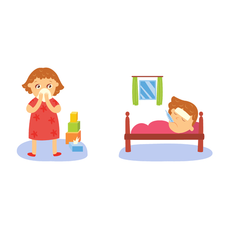 baby toy: vector flat girl kid doing routine activity set. Child standing near cubics pyramid crying, lying sick with thermometer in mouth suffering from headache. Isolated illustration on a white background.
