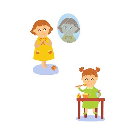 vector flat girl kid doing everyday routine activity set. Kind die de appel van de havermoutpap eten bij lijst, die zich dichtbij venster kleden. Geïsoleerde illustratie op een witte achtergrond. Stock Illustratie