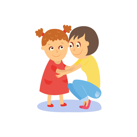 Mom and daughter hugging, embracing each other, flat, comic style cartoon vector illustration isolated on white background. Happy flat cartoon mother and daughter hugging each other