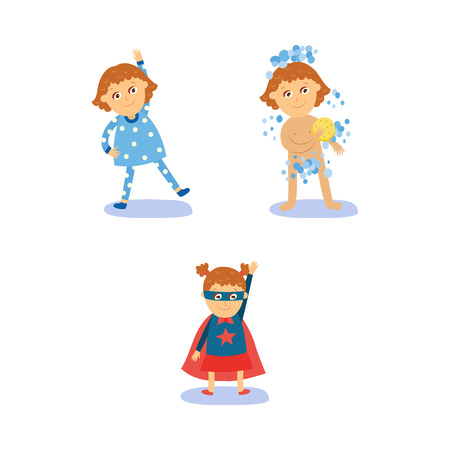 Superhero girl doing morning routines - exercise, shower, dressing, flat cartoon vector illustration isolated on white background. Girl doing morning exercises, washing, wearing Superhero costume Иллюстрация