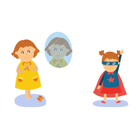 Little girl looking into mirror, dressing, wearing superhero costume, flat, comic cartoon vector illustration isolated on white background. Flat cartoon little girl dressing, wearing superhero costume