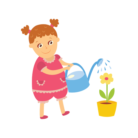 Little girl watering houseplant, pot flower, doing housework, flat, comic style cartoon vector illustration isolated on white background. Flat cartoon little girl watering houseplant, flower Иллюстрация