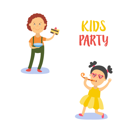 vector flat cartoon boy kid holding plate with tasty delicious piece of cake smiling happily, girl in funny glasses whistling . isolated illustration on a white background. Kids patty concept