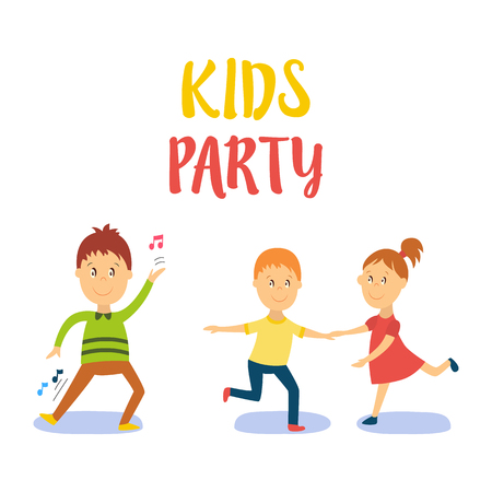 vector flat cartoon boy, girl and couple child dancing smiling. Little dancer male character. Isolated illustration on a white background. Kids party concept Stock Illustratie