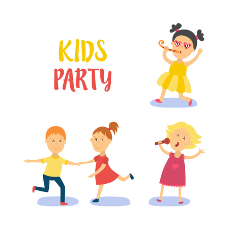 vector flat cartoon kids at party set. Boy dancing happily with girl, another girl in pink dress singing at microphone, kid in yellow dress whistling . Isolated illustration on a white background.