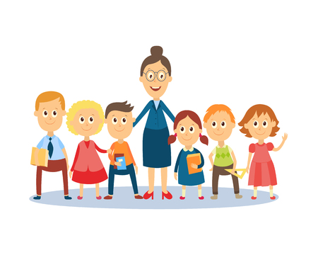 Full length portrait of female teacher standing with students, pupils, flat cartoon, comic style vector illustration isolated on white background. Funny teacher and students standing together 일러스트