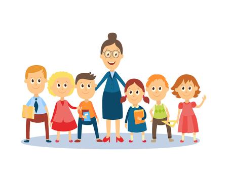 Retrato de corpo inteiro de professora em pé com alunos, alunos, desenhos animados planos, ilustração vetorial de estilo comic isolado no fundo branco. Professores engraçados e estudantes em pé juntos