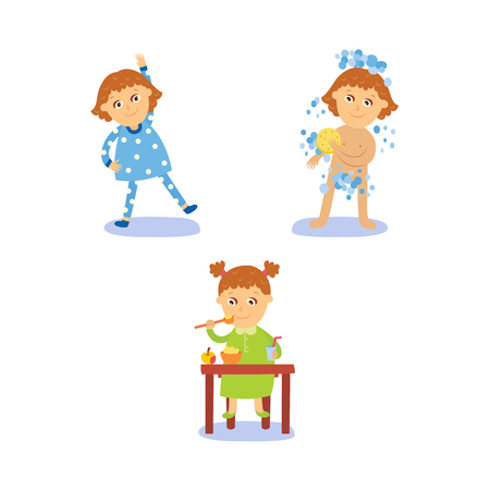 vector flat girl kid doing everyday routine activity set. Child washing, making physical exercises, and eating . Isolated illustration on a white background.