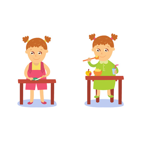 vector flat girl kid doing everyday routine activity set. Child eating porridge ant apple at table, peeling begetable. Isolated illustration on a white background.