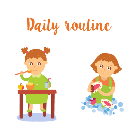 vector flat girl kid doing everyday routine activity set. Child eating porridge ant apple at table, washing dishes. Isolated illustration on a white background.