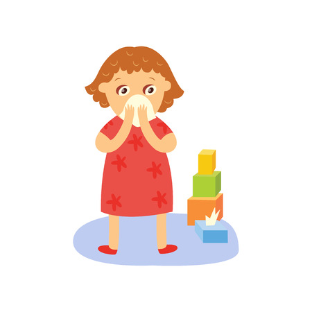 vector flat kid girl standing near pyramyd of cubics holding paper napkin near her face suffering from runny nose. female character isolated illustration on a white background. Daily routine concept