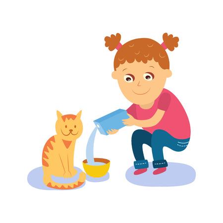어린 소녀 그녀의 고양이, 새끼 고양이, 평면 만화 벡터 일러스트 레이 션 흰색 배경에 고립 먹이 그릇에 우유를 붓는. 그릇에 우유를 붓는 그녀의 고양