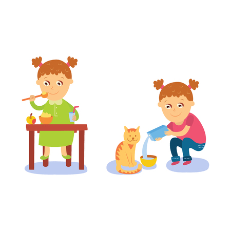 Little girl having breakfast and pouring milk to her cat, flat comic style cartoon vector illustration isolated on white background. Cartoon little girl having breakfast and feeding cat 向量圖像