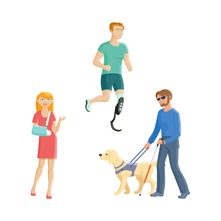 People with injures and disabilities - blindness, broken arm, artificial limb, flat cartoon vector illustration isolated on white background. Set of people with traumas and disabilities Illustration