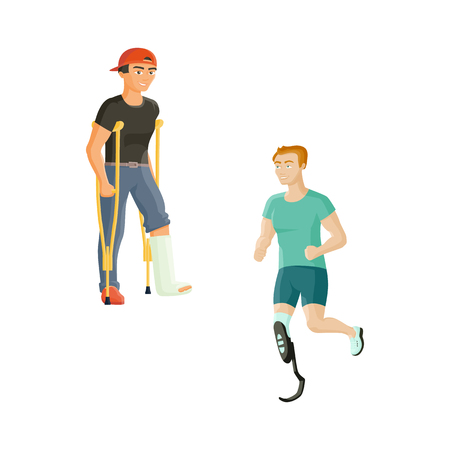 cast: Two young man, one with broken leg and crutches, another with prosthetic leg, flat cartoon vector illustration isolated on white background. Man with a plaster cast and sportsman with artificial leg Illustration