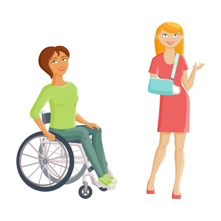 Women with disabilities - broken arm and wheelchair, flat cartoon vector illustration isolated on white background. Two women with injures, one with cast on her arms another having to use wheelchair Illustration