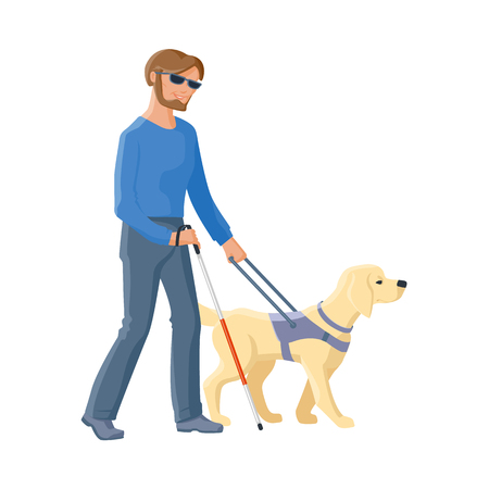 Blind Caucasian man in dark glasses walking with cane and guide dog companion, flat cartoon vector illustration isolated on white background. Flat cartoon blind man walking with a guide dog