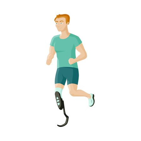 Young man with prosthesis, sportsman running on artificial leg, flat cartoon vector illustration isolated on white background. Flat cartoon man, sportsman with prosthetic leg, overcoming disability