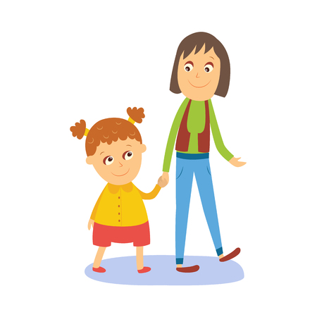 Mother and daughter, little girl walking with her mom, holding hands, flat comic style cartoon vector illustration isolated on white background. Cartoon girl walking with her mom, mother and daughter