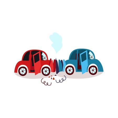 ベクトル フラット漫画車クラッシュ事故正面衝突。へこみ、壊れたメガネ、傷やフードから煙が両方あります。白い背景の上の隔離された図  イラスト・ベクター素材