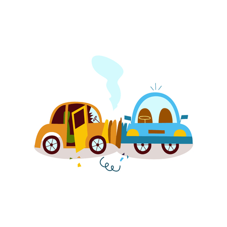 vector flat cartoon car accident. yellow vehicle crashed into blue one from side and got smoke from hood and cracked side window glass. Isolated illustration on a white background.