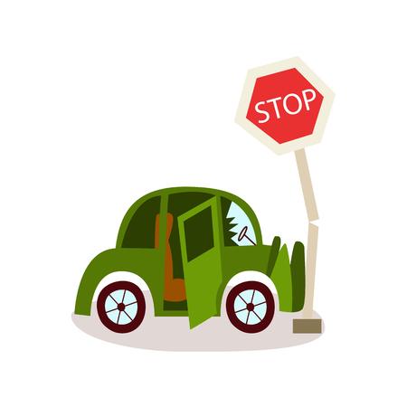 Accident de voiture de dessin animé plat vecteur. Le véhicule vert s'est écrasé dans le panneau de signalisation d'arrêt et a fissuré le bamper et le pare-brise avant. Illustration isolée sur un fond blanc. Banque d'images - 87535492