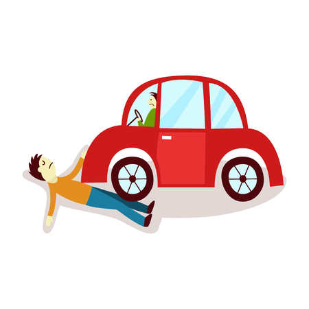 vector flat cartoon pedestrian accident, young man was hit by red car and human damaged lying on the ground. Isolated illustration on a white backgound. Road safety concept
