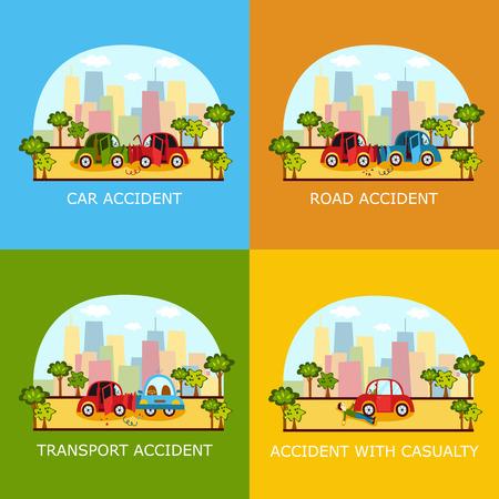 車事故バナー - 後部、側面衝突、街の通り、漫画のベクトル図に歩行者のノックダウンで頭のセットです。車の衝突、歩行者のノックダウン、道路  イラスト・ベクター素材