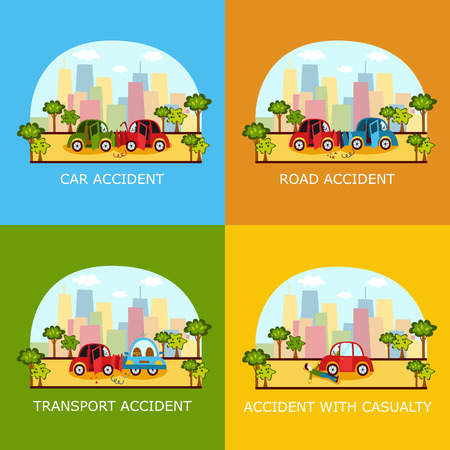 Set of car accident banners - head on, rear end, side collision and pedestrian knockdown on city street, cartoon vector illustration. Car collision, pedestrian knockdown, road accident banner set