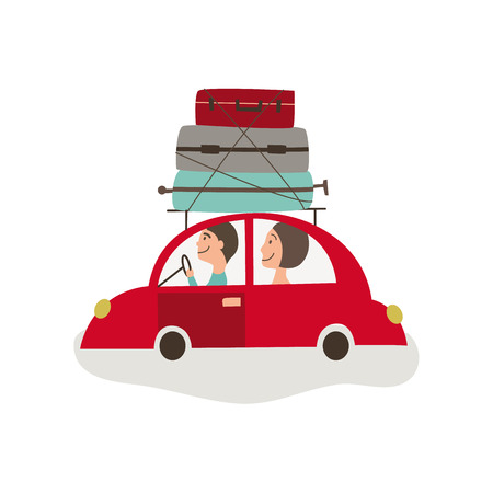 vector flat cartoon style family driving red car with big bags fixed at its roof. Travelling by motor vehicle, road trip concept. Isolated illustration on a white background.