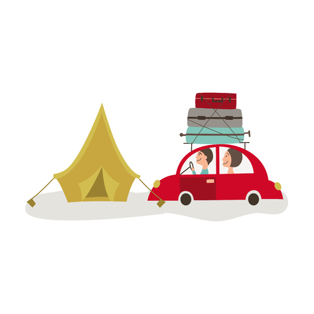 vector flat cartoon style family driving red car with big bags and cat at its roof, touristic tent set. Travelling by motor vehicle, road trip concept. Isolated illustration on a white background. Ilustracja