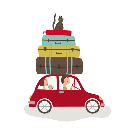 vector flat cartoon style family driving red car with big bags and cat at its roof. Travelling by motor vehicle, road trip concept. Isolated illustration on a white background.