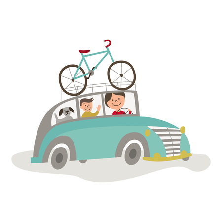 vector flat cartoon style blue car with bicycle fixed at its roof with family inside. Travelling by motor vehicle, road trip concept. Isolated illustration on a white background.