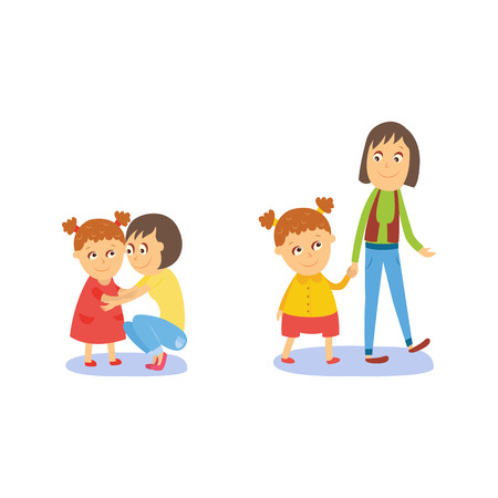 Mother and daughter, little girl walking and hugging with her mom, flat comic style cartoon vector illustration isolated on white background. Cartoon girl with her mom, mother and daughter