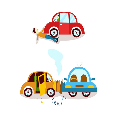 vector flat car , accident set. Side vehicle collision, both vehicle have broken glasses smoke from hood, predestrian accident. Isolated illustration on a white background Vetores