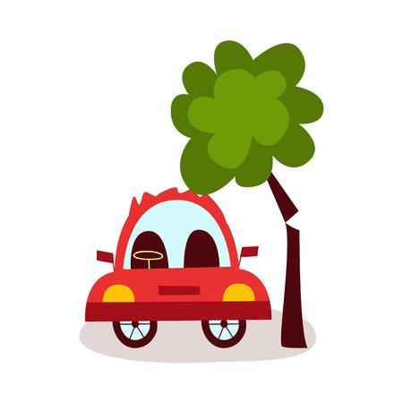 ベクトルフラット漫画車の事故。赤い色の車両は、それが木に落ちる近くに立っています。白の背景に独立したイラスト。道路安全コンセプト