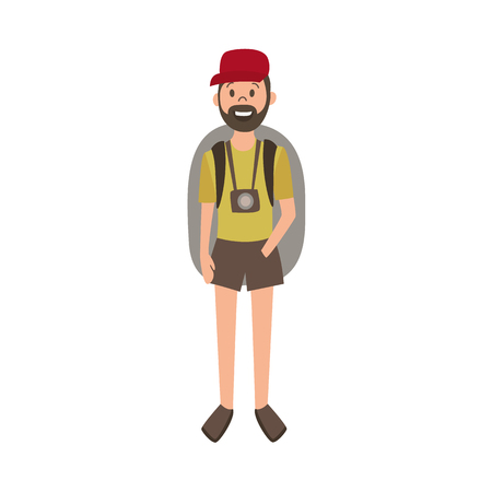 vector flat cartoon young man with beard hiking tourist smiling wearing backpack, watches cap and t-shirt. Isolated illustration on a white background. Stock Vector - 87535507