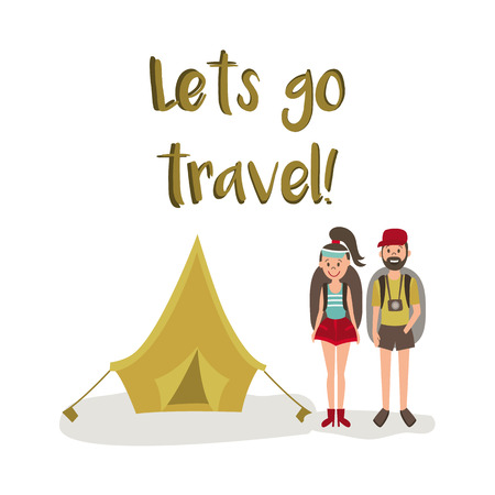 vector flat cartoon young man, woman hitch-hiking tourists smiling wearing backpack, watches cap, touristic tent, lets go travel inscription. Isolated illustration on a white background. Illustration