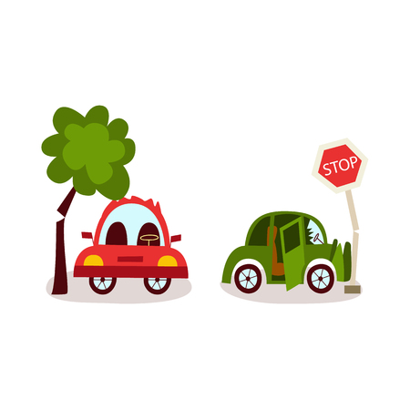 vector flat car accident set. Red vehicle stands near falling to it tree, green auto crashed into road sign damaged its front bamper. Isolated illustration on a white background