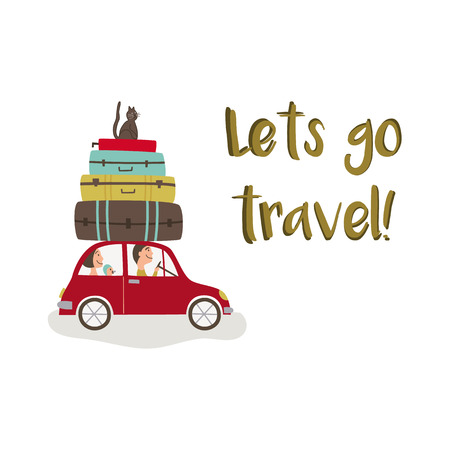 Road trip - car with baggage, lets go travel lettering, flat cartoon vector illustration isolated on white background. Family travelling by car with suitcase stacked on roof and cat sitting on top Zdjęcie Seryjne - 87535515