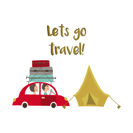Family road trip - car with baggage, luggage on the roof and tourist tent, flat cartoon vector illustration isolated on white background. Road trip concept, family travelling by car, camping