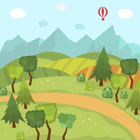 Countryside landscape with green fields, trees, mountains and hot air balloon in the sky, flat cartoon vector illustration. Hills and mountains, green valley, mountains and hot air balloon in blue sky Illustration