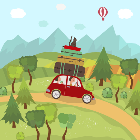 Family car trip in countryside, fields, trees, mountains and hot air balloon in blue sky, flat cartoon vector illustration. Family travelling by car on background of valleys, hills, mountains and sky